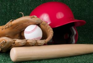 Helmet, glove, ball, and bat.